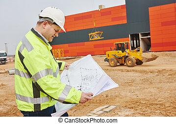 建設, 建造者, 工程師, 站點