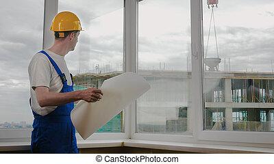 建設, 建造者, blueprint., 站點