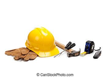 建設, 提供, 工人, 白色