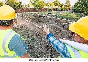 建設, 男性, 忽略, 池, 女性, 站點, 工人
