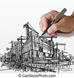 建設, 畫, 站點, 手