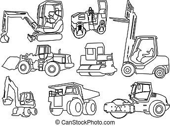 建設, 矢量, -, 機器