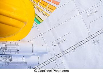 建設, 背景, hardhat, 滾動, copyspace, 黃色, 概念