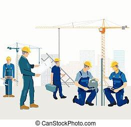 建設, .eps, 技術工人, 組