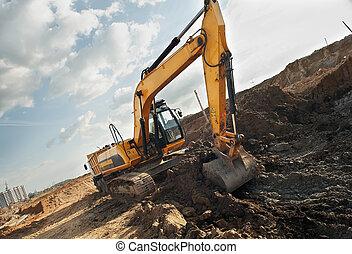 建設, loader, sandpit, 挖掘機, 區域