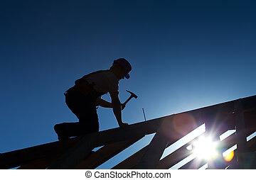 建造者, 屋頂, 木匠, 工作, 或者
