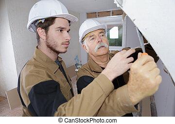 建造者, 工作, 以前, plasterering