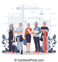 建造者, 建築師, 領班, 工程師