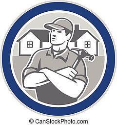 建造者, 木匠, 房子, retro, 環繞, 錘子