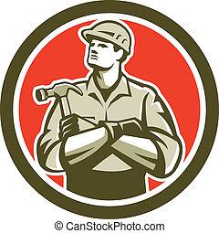建造者, 木匠, 武器穿過, retro, 環繞, 錘子