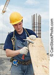 建造者, 錘子, 膠合板, 工作