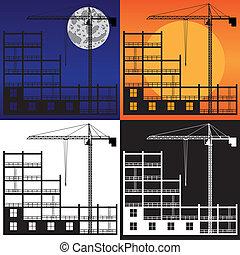 建造起重机, construction., 舉起, 在下面