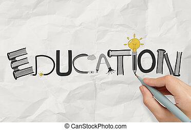 弄皺, 圖表, 詞, 事務, 手, 紙, 概念, 設計, 教育, 圖畫
