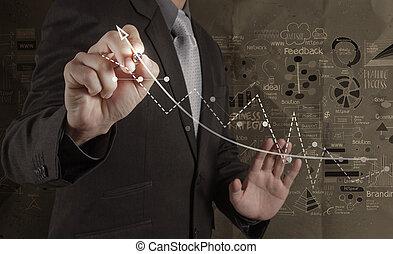 弄皺, 概念, 電腦, 事務, 工作, 現代, 商人, 手, 紙, 背景, 新, 畫, 戰略