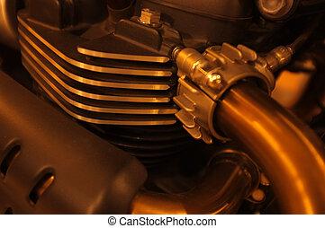 引擎, 特寫鏡頭, 摩托車, 背景, 細節