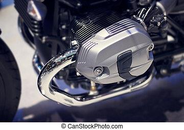 引擎, 特寫鏡頭, 摩托車, 鉻, 現代