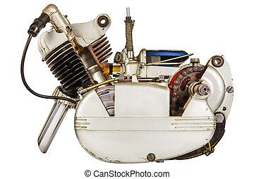 引擎, 葡萄酒, 白色, 被隔离, 机動腳踏兩用車