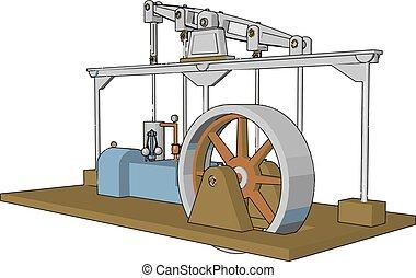 引擎, 顏色, 插圖, 蒸汽, 機器, 矢量, 或者