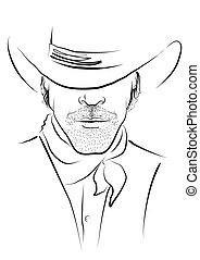 強有力, 肖像, white., 人, 帽子, 矢量, 牛仔