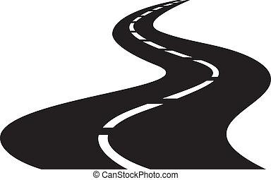 彎曲, 矢量, 插圖, 路