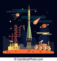 彗星, 發射, 月亮, 空間衛星, 火箭, 插圖, 漫游者, 風景, 矢量, 行星, moon., 背景。, 星, design., 套間