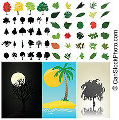 彙整, 矢量, 樹, leaves., 插圖