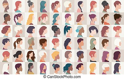 彙整, headshot.different, 女孩, 美國人, 高加索人, 差异, 集合, 婦女, -, arab, 女性, 肖像, 國籍, multiethnic, isolated.asian, 組, avatar, people.profile, african