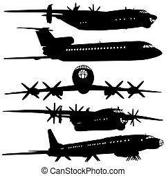 彙整, silhouettes., 飛機, 不同
