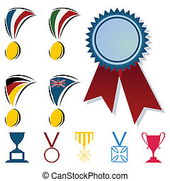 形式, 插圖, 矢量, 獎品, cups., 獎章