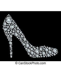 形狀, 向上, diamon, 鞋子, 做, 簽