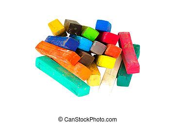 彩色蜡筆, 集合, 藝術, 被隔离, 粉筆, 背景。, scrapbooking, 白色, 圖畫