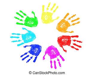 彩虹, 列印, 手