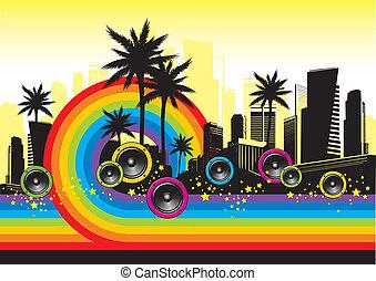 彩虹, 手掌, &, -, 插圖, 矢量, 都市風景, 擴音器