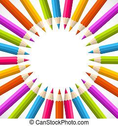 彩虹, 環繞, 背, 鉛筆, 學校