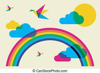 彩虹, 發出哼哼的聲音, 鳥, 鮮艷