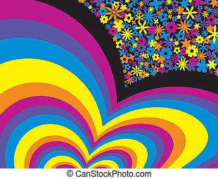 彩虹, 花, 背景