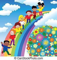 彩虹, slide., 孩子