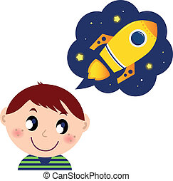 很少, 作夢, 男孩, 玩具火箭