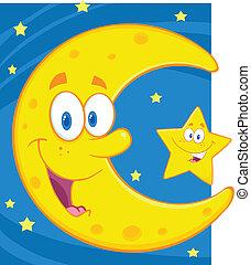 很少, 星, 月牙形的月亮