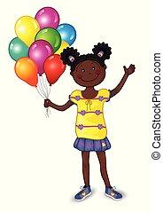 很少, 气球, 女孩, 鮮艷