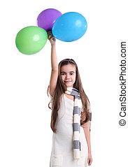 很少, 气球, 微笑的 女孩