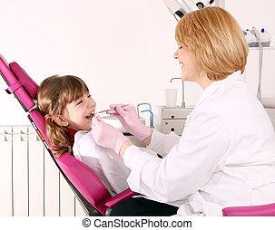 很少, 病人, 考試, 牙齒, 牙醫, 女孩