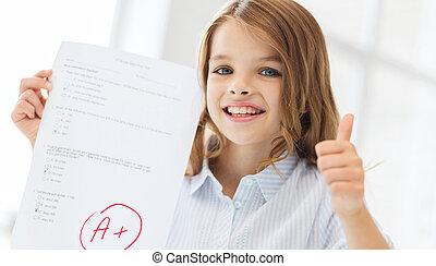 很少, 等級, 學生, 測試, 女孩微笑
