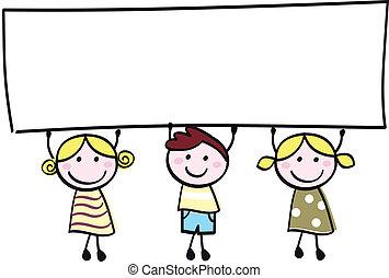 很少, 藏品, 旗幟, 愉快, 空, 漂亮, -, 男孩, 女孩, 空白, 卡通, illustration.