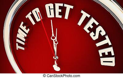 得到, 提醒者, 時間, 測試, 插圖, 鐘, 測試, 任命, 健康, 3d