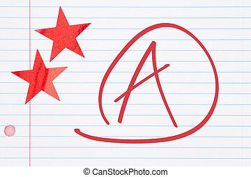 得到, 紅色, 星, 等級, 紙, 排列, 二, 好