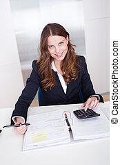 從事工商業的女性, 計算器, 使用