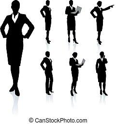 從事工商業的女性, 黑色半面畫像, 彙整