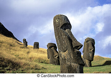 復活節, 智利, 島, moai-