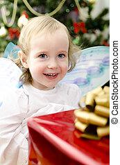 微笑的 女孩, 聖誕節, 手, 很少, 禮物